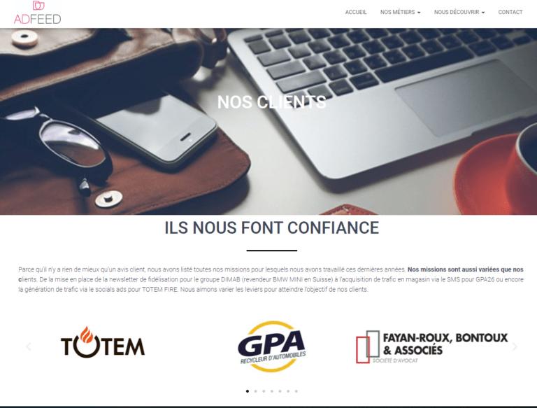 Site internet Adfeed sur Valence